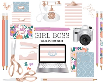 Office Themed clipart, Gold, Rose Gold, boxes, scissors, paperclips, pencil, pen, computer, clipboard, push pins, notebook