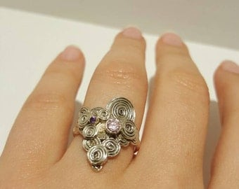 Unique silver scrolls ring with pink zirconia and purple amethyst