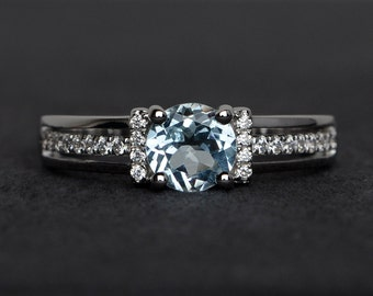 blue aquamarine ring engagement rings round cut natural aquamarine silver March birthstone rings