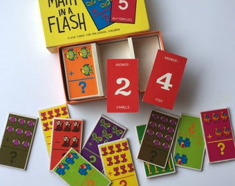 Vintage 1960's Math in a Flash Cards For Teaching Children - Math Great for Scrapbook and Mixed Media Craft Projects