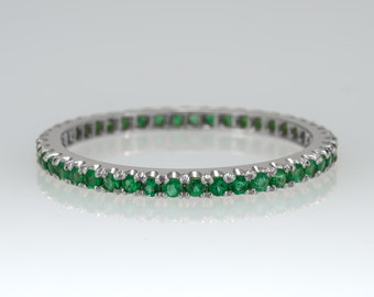 Eternity ring - Emerald ring - Promise ring - GemStone ring - Stacking ring, 14k gold ring, Wedding band, Rose gold ring, Full eternity band