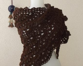 Crochet shawl brown crochet shawl wrap shawl triangular shawl crochet shawl fall winter shawl mother days gift