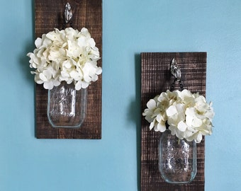 Set of Two  Mason Jar Hanging Vase with flowers wall decor