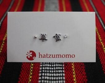 Turtle Stud Earring Set Sterling Silver 925