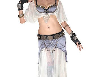 Tribal Fusion Bellydance Costume 5Piece Set (Bra/Belt/Top/2 Skirt) Purple Gray & Off White-Feminine Style