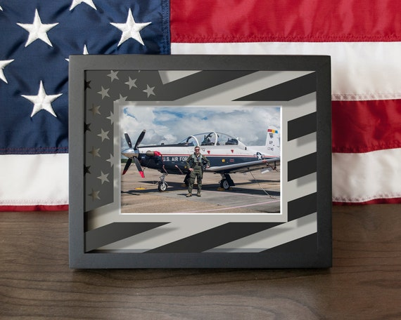 Us Flag Picture Frame Shadow Box Vinyl On Glass 8x10
