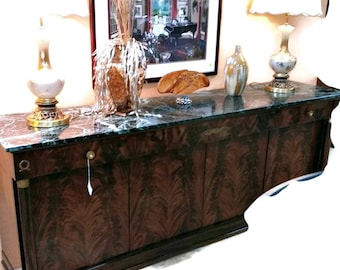 Gorgeous Empire Flame Mahogany Green Marbled Top Buffet/Sideboard Furniture
