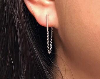 Silver bar earrings silver chain earrings minimalist earrings