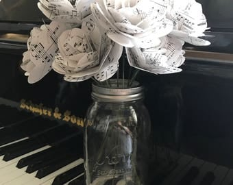 Music Page Paper Rose Bouquet with Mason Jar Vase