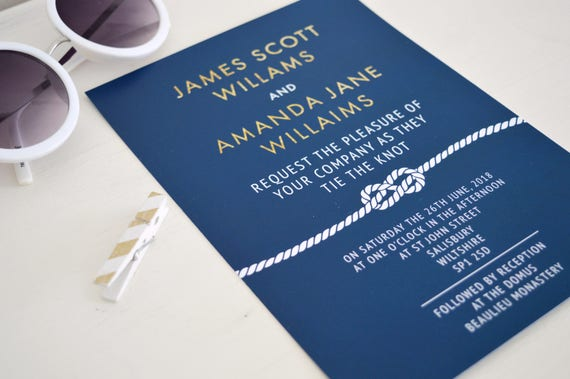 Nautical wedding invitation suite, navy and gold wedding invitation beach, blue wedding invitations UK, navy wedding invitation navy, A5