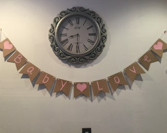Baby Love Baby shower Rustic Banner Pink