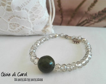 Bracelet by crystals and agate Central Pearl olive green, handmade, mod. Silvy
