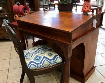 Antique Solid Pine Library Desk Lift Top & Book Case