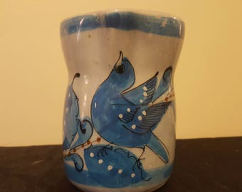ON SALE, Tonala Pitcher, Mexican Pottery, Tonala Pottery, Blue Pitcher, Mexican Tonala, Vintage Pottery, Vintage Pitcher, Ceramic Pitcher