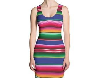 Mexican Serape Pattern Dress
