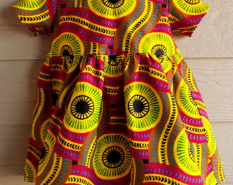 African Wax Circle Print Toddler Dress