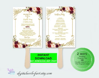 Wedding Program Template,DIY Floral Bohemian Wedding Program Template,Editable PDF instant download,boho, roses,wedding ceremony program,#lc