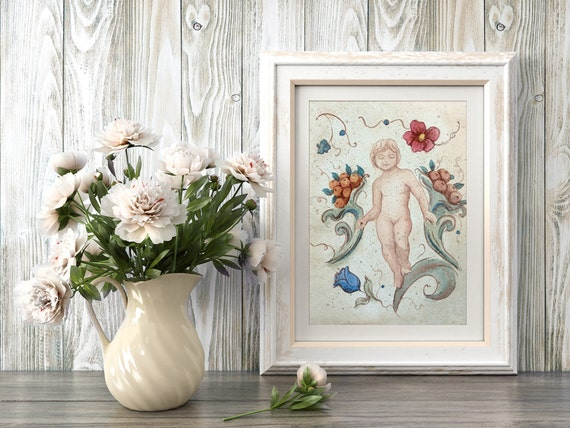 Italian Fresco Style Wall Art Print from an original watercolour painting by Corinne Dany / Italy / Floral / rustic / textured