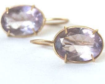 golden sparkling amethyst earrings