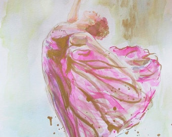 SUMMER SALE- Original ballerina painting,ballerina watercolor,,ballet painting,ballerina dancing,wall decor for girls nursery room,pink,gold