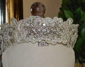 Wedding Crown, Vintage Wedding Crown, Ivory Bridal Crown, Wedding Tiara, Vintage Wedding Tiara, Antique Crystal Crown, Antique Wedding Crown