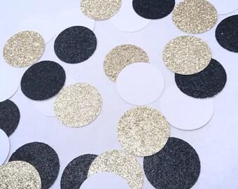 Black Gold White Confetti, Glitter Confetti, Black and Gold Party, Birthday Confetti, Graduation Confetti, Table Scatter, Round Confetti