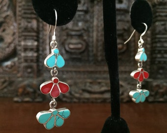 Sterling Silver with semi Precious stones dangling earrings...