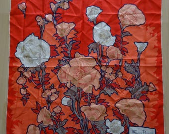 Maggy ROUFF red coral silk scarf pink