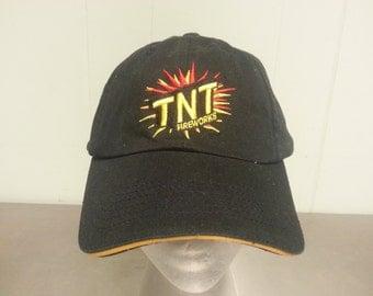 Vintage 90's TNT Fireworks Black Strapback Dad Hat Promotional