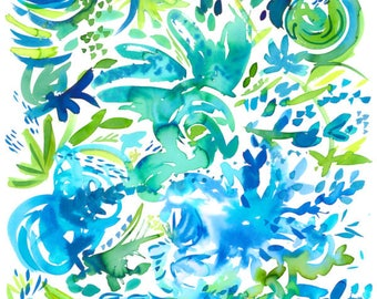 Blue and Green Abstract Print