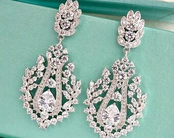 Art Deco CZ Teardrop Crystal Bridal Earrings, Vintage Style Art Nouveau Rhinestone Drop Wedding Earrings, Victorian Chandelier Earrings