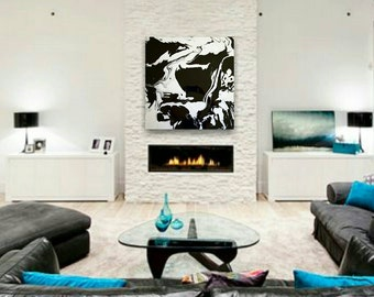 Original Abstract Painting 24 x 24 Black Silver Large Modern Contemporary Acrylic Painting Abstract Art High Gloss Floating