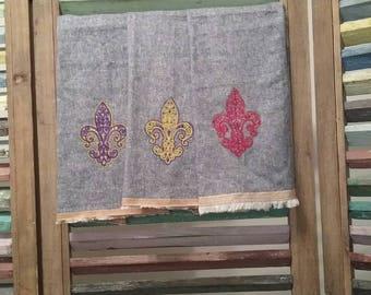 Decorative kitchen towel, embroidered kitchen towel, Fleur de Lis Decor, Fleur de lis kitchen towel, Housewarming gift,  #9, #10, #13