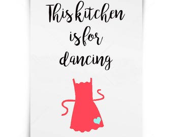 Kitchen SVG cut file - Digital cutting file - silhouette cameo, cricut, SVG cut files, Kitchen quotes, This Kitchen is for Dancing, instant
