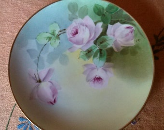 Haviland Limoges hand painted roses plate