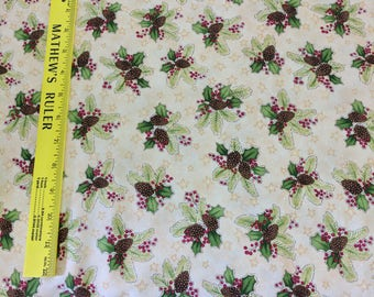 Do You See What I See? Henry Glass Fabric Collection - Pinecones and Holly