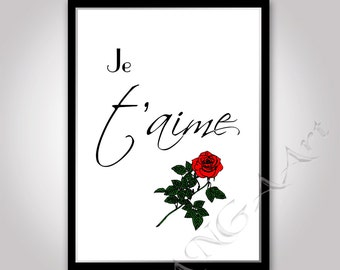 Je t'aime I Love you print Instant download Je t'aime poster print Love poster Love card Je t'aime Love you poster format A4 / A5
