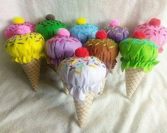 Felt food ice cream cone with sprinkles for imaginative play. Pretend play felt food for kitchens, shops etc. Available in 9 colours/designs