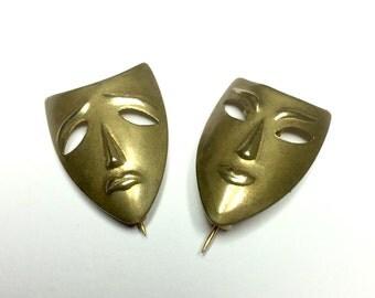 Vintage Comedy/Tragedy Theatre Mask Badges
