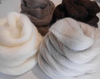 7oz Corriedale Wool Roving, Natural Undyed. Needle Felting, Wet Felting wool