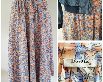 Pretty vintage floral summer skirt | Pink and blue pattern | UK Size 12