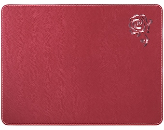 Red Placemats / Table Place Mats / Rose Table Mats / Recycled Leather  Placemat / Dining