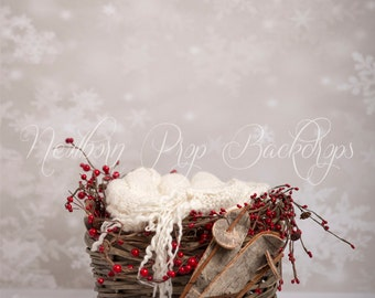 Newborn Digital Backdrop (basket/red/ski)