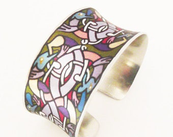 Celtic Cuff Bracelet Modern Metal Artisan Handmade Metal Jewelry 10th Anniversary Gift Book of Kells Inspired