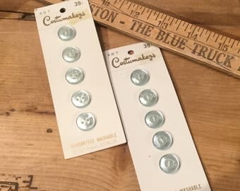 10 Vintage Small Light Blue Buttons On Original Cards by Costumakers Made In Japan