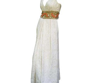 Ceil Chapman Stunning Ivory Brocade Jeweled Empire Gown.  1960's.