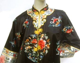 Reserved Sale Pending Exotic Black Satin Embroidered Evening Duster Coat