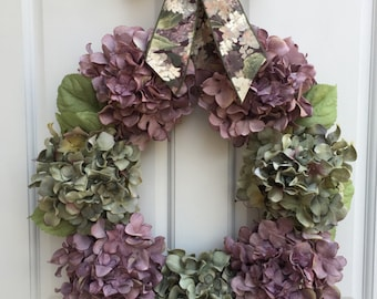 Hydrangea Wreath, Front Door Wreath, Lavender Wreath, Spring Wreath, Year Round Wreath, Summer Wreath, Wreath, Wreath Street Floral