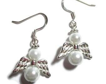 Angel Earrings/White Pearl Angel Earrings/French Hooks/Silver Wings/Silver Flower Spacer Halo