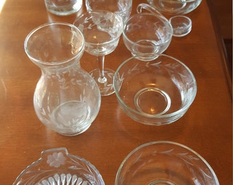 Vintage Lot of 11 Etched Glass Vases; candy/nut bowls;and stemware